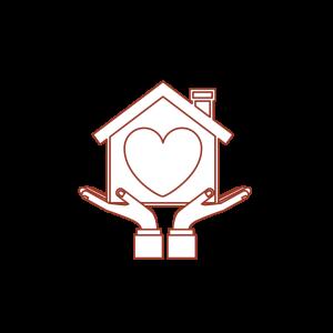 illustration maison dans des mains avec un coeur