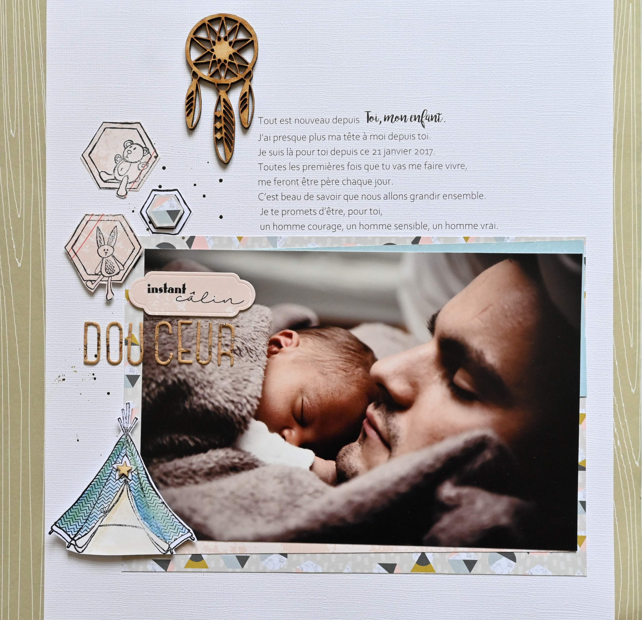 photo bébé avec papa à la sieste création scrapbooking