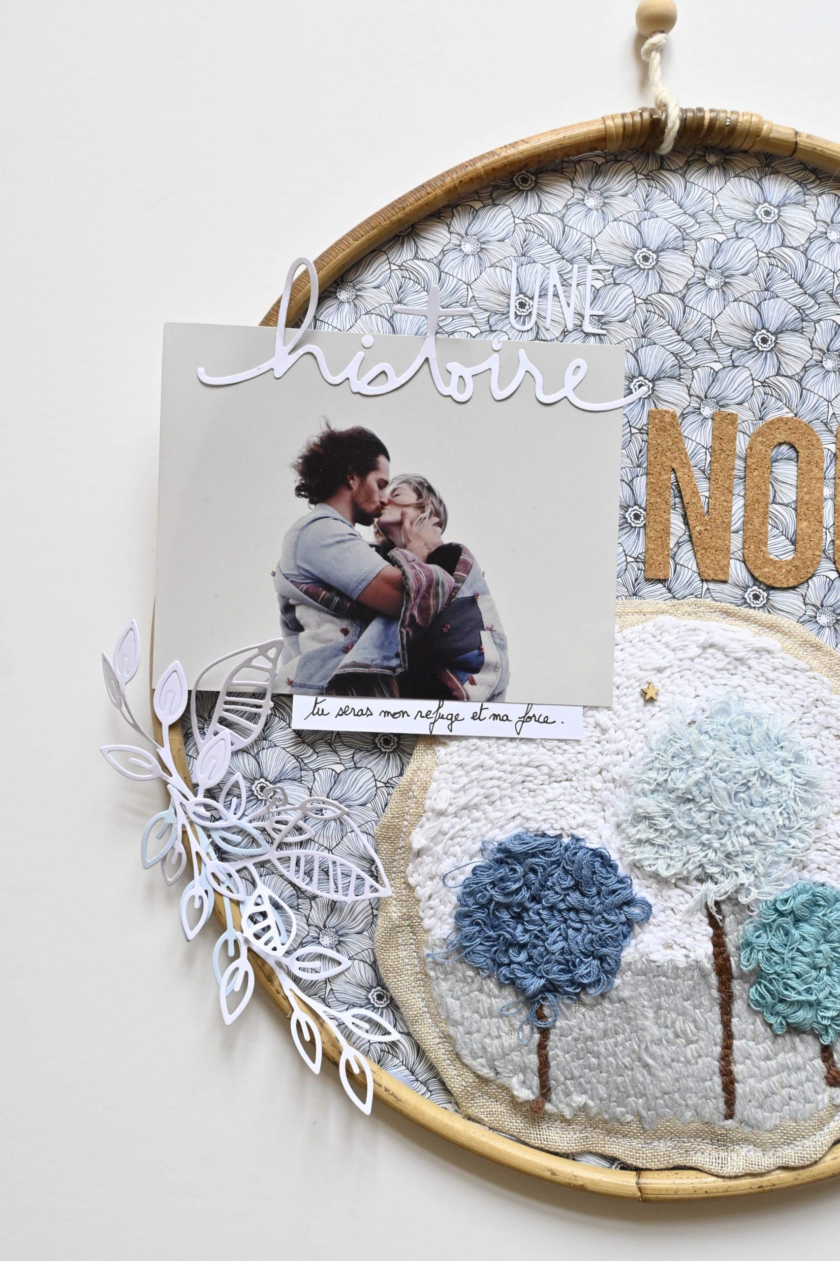 photo couple création scrapbooking dans un cercle avec punch needle
