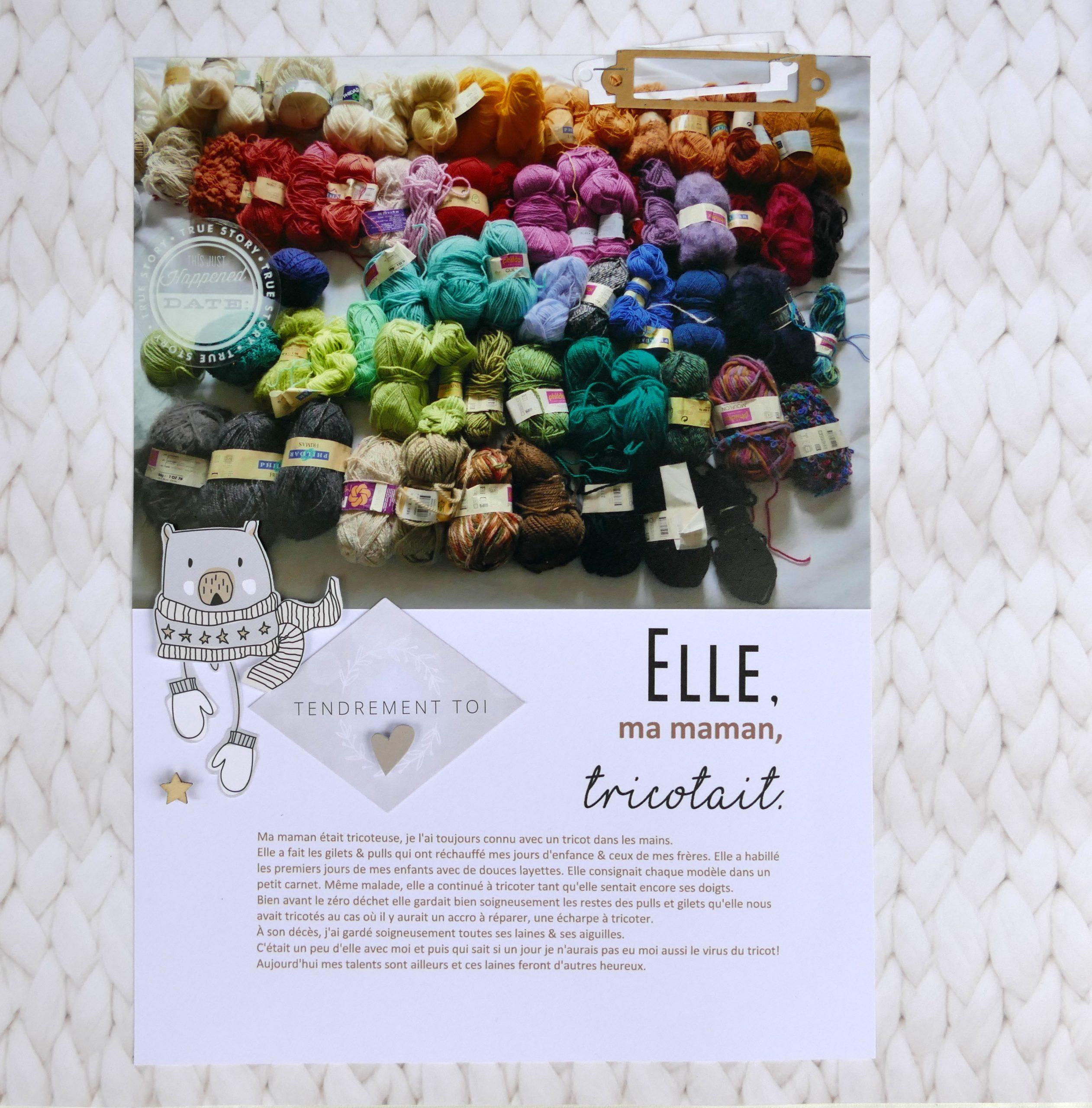 page hommage à la passion du tricot d'une maman
