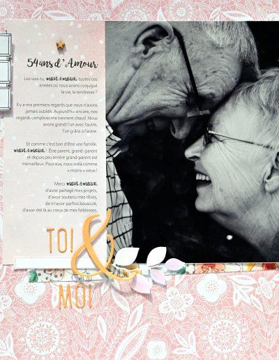 couple amoureux noces d'or cadeau original avec la photo mise en valeur par le scrapbooking et l'écriture
