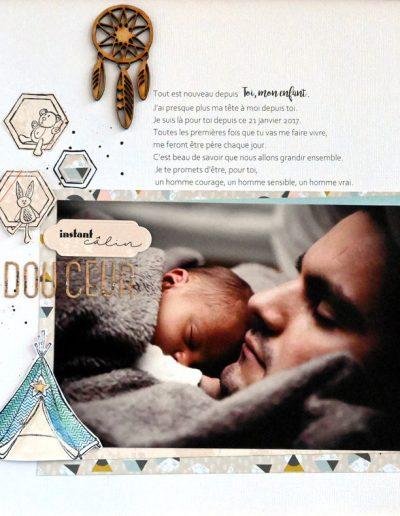 père et fils sieste mise en page avec cadre