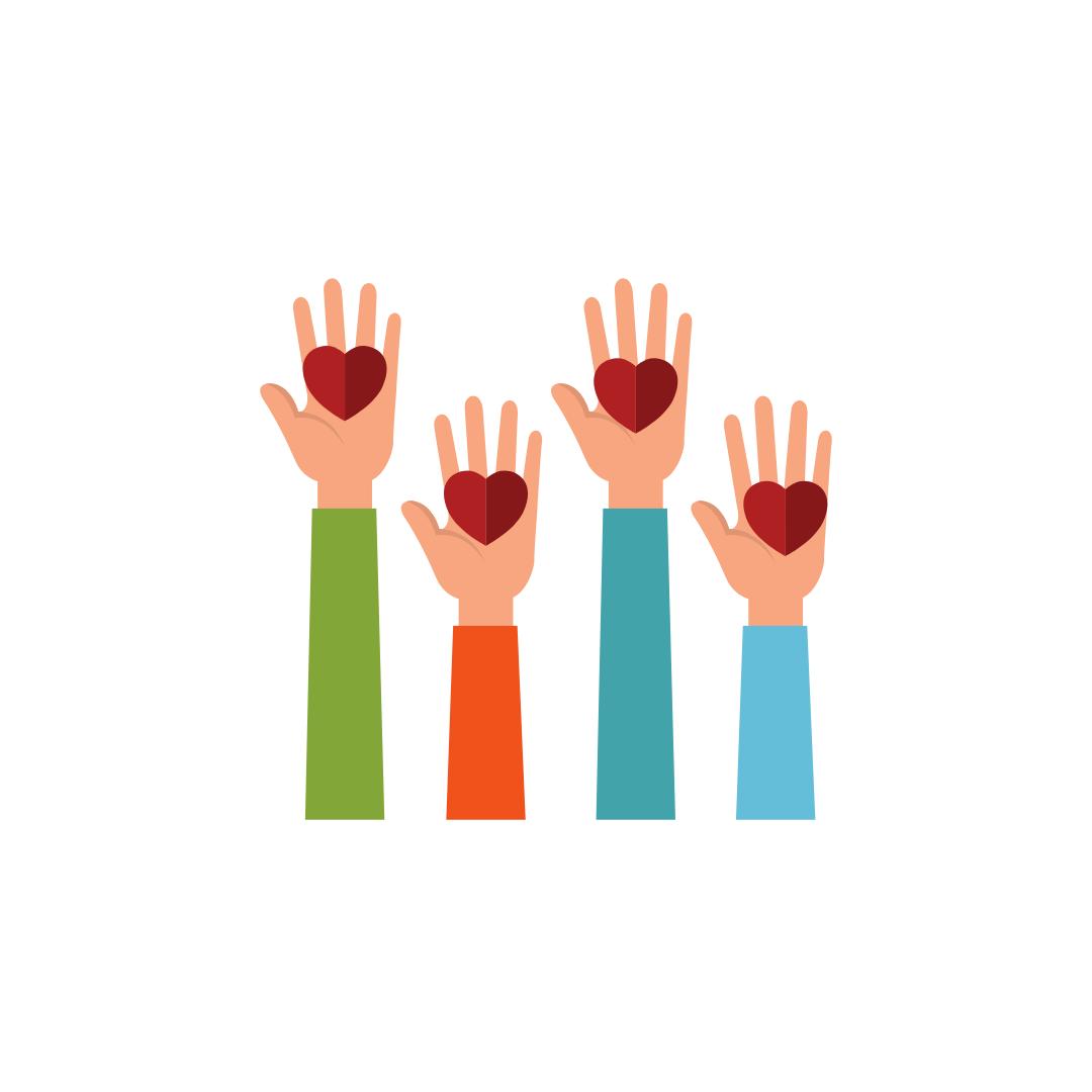 illustration mains tendus avec un coeur : accompagnement d'une personne en deuil