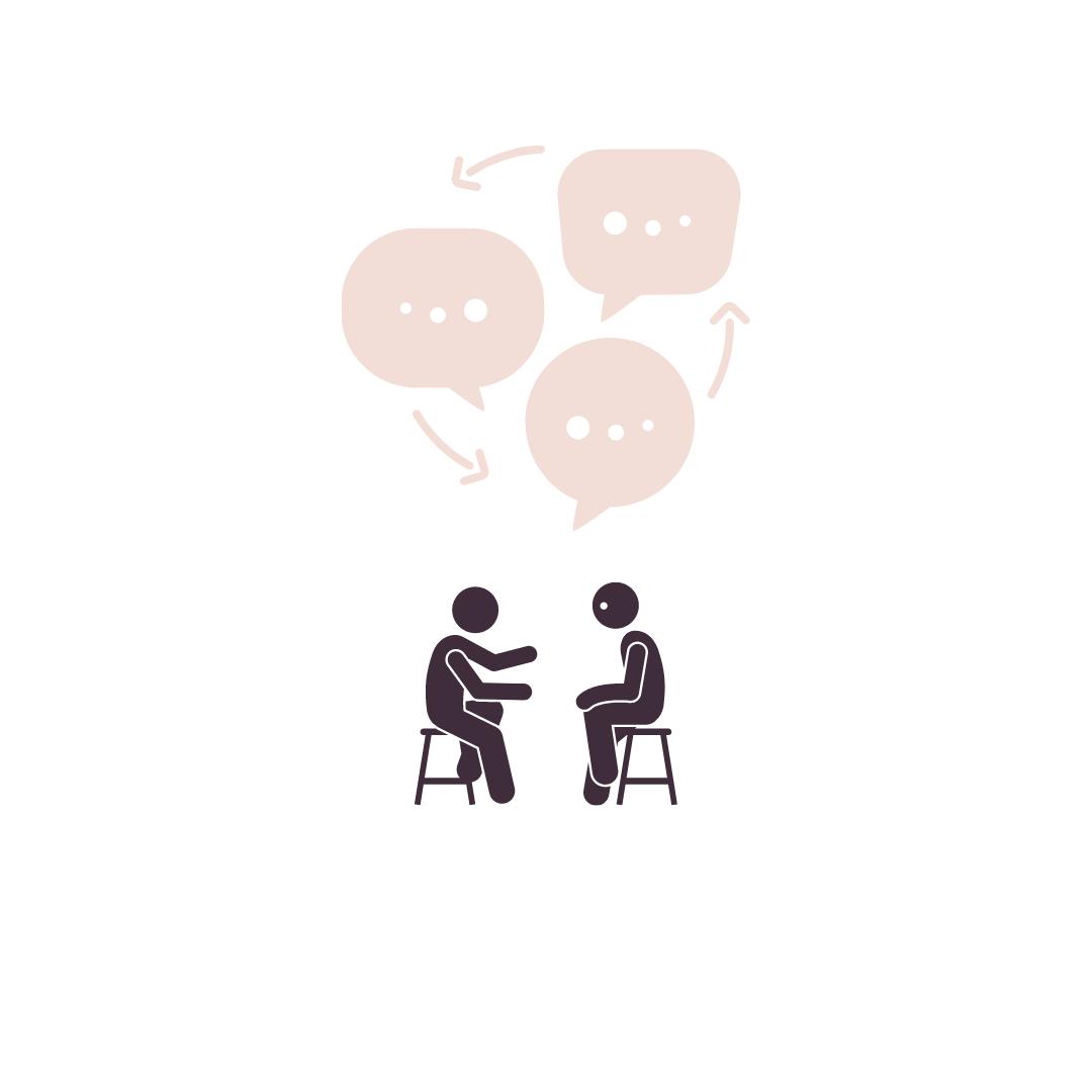 illustration dialogue : deux personnes assises en dialogue