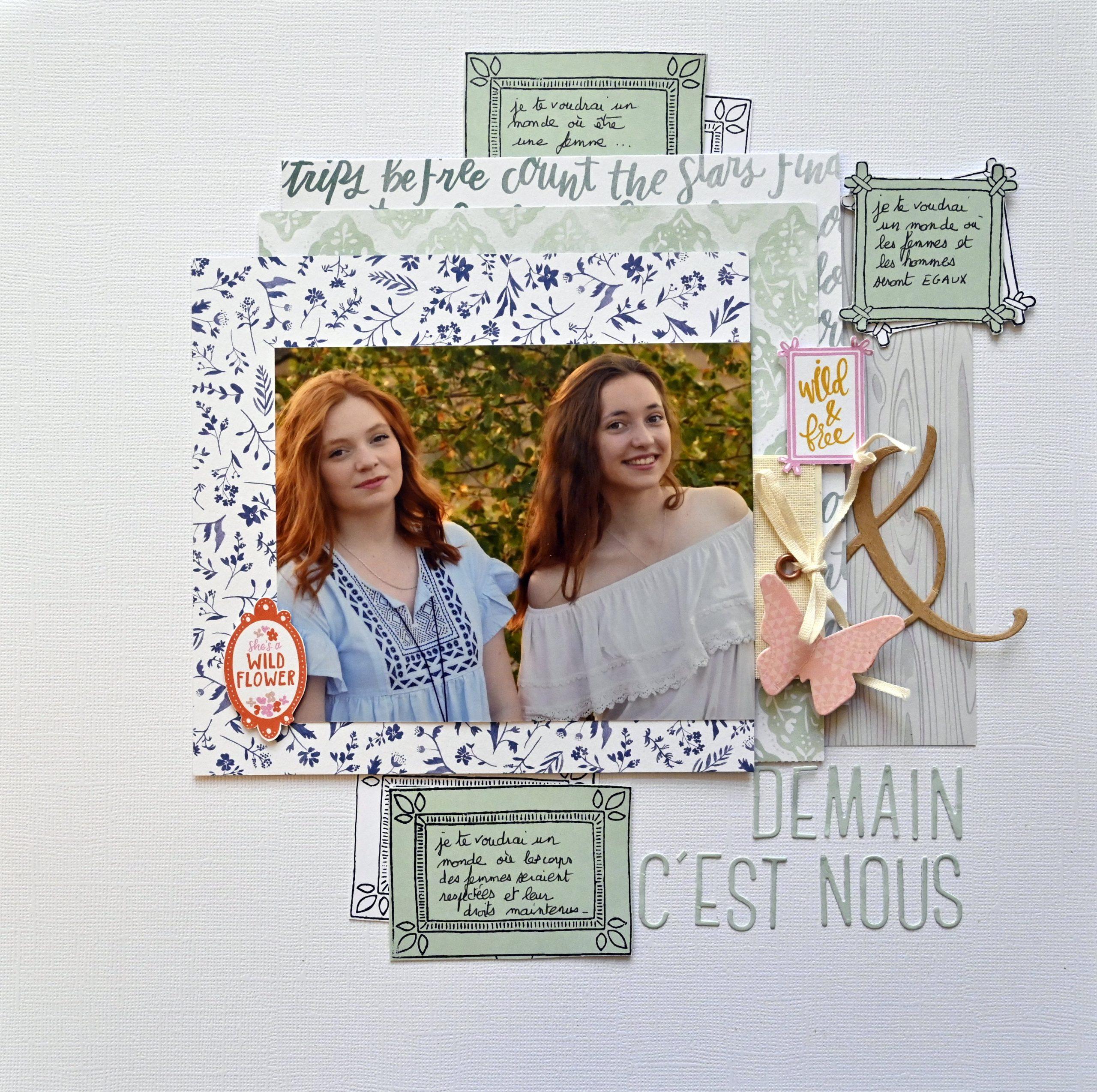 portrait de femme la féministe . atelier en ligne scrapbooking création page  2 sœurs en photos
