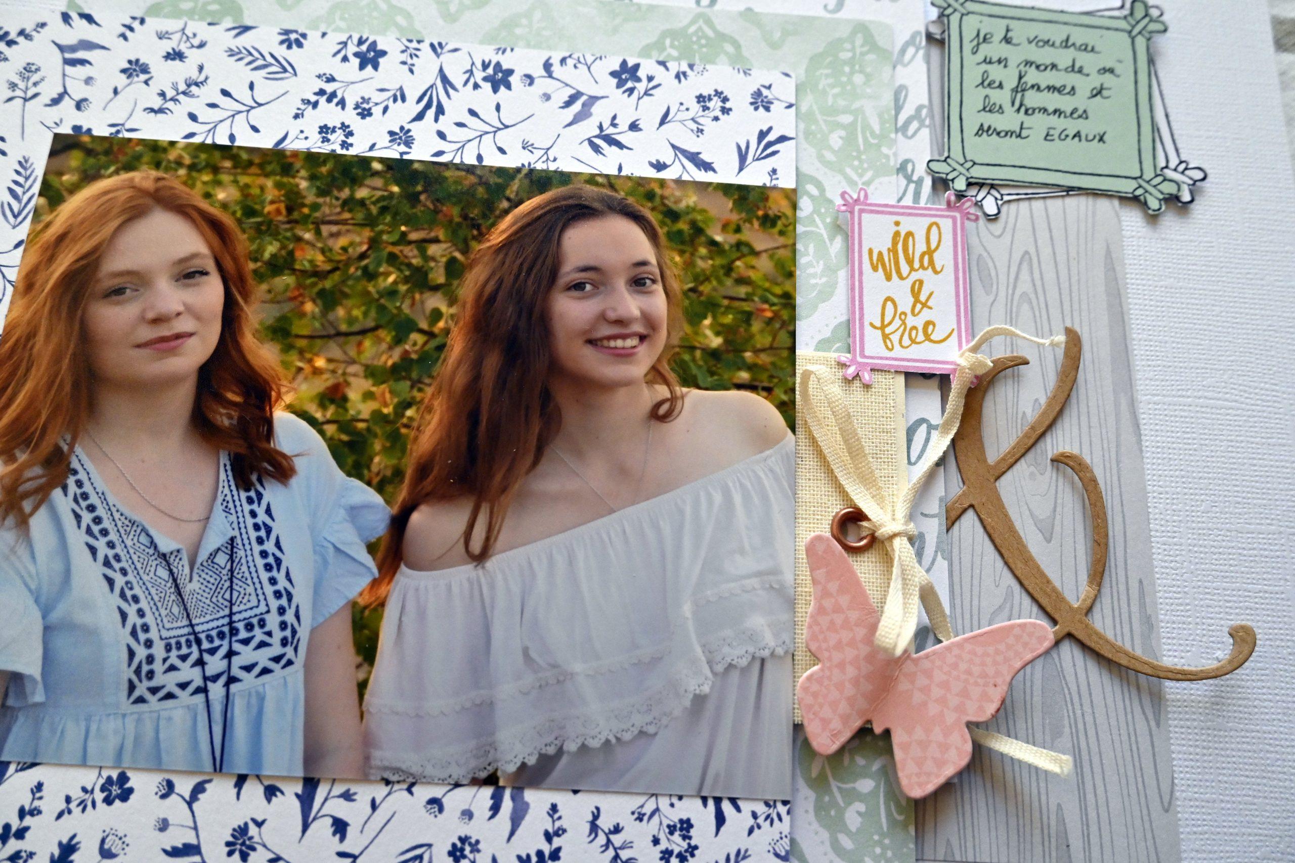 portrait de femme 2 soeurs  page création atelier en ligne scrapbooking