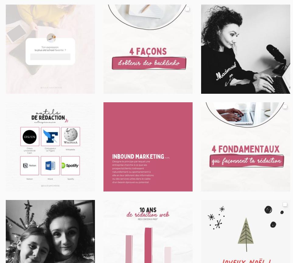 feed Instragram de julie fabre post pédagogique + photos perso